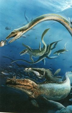 tyrannosaurslair:  dryptosaurus:  Cretaceous Sea by unknown artist  For me, this reminds me of the nightmares I used to have about mosasaurs and other marine reptiles when I was a kid, I was scared of them. Still kinda am.