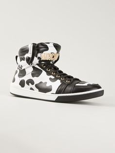Moschino Cow Hide Effect Hi-top Sneakers