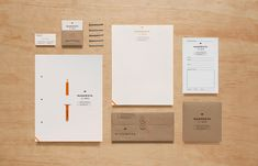 Logo and stationery with gold foil detail and unbleached papers designed by Anagrama for San Pedro-based carpentry studio Maderista