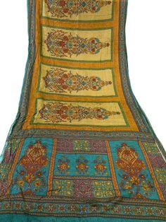 Vintage Pure Silk Fabric light brown Sari by vintagemartindia