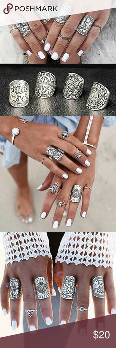 Exotic Boho Beauty Gypsy Carved 4pc Rings!! Neu 4PCS Women Vintage Gypsy Boho Carved Totem Antique Silver Plated Midi Rings Jewelry Rings