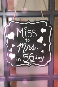 miss to mrs chalkboard sign