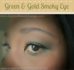 By Beyond Beauty Lounge . I used a gold tone on the inner corner of my eye and the green concentrated on the outer portion of the eye and also carried it underneath. I used a medium brown shade to transition from the eyelid to the lighter color I used under the brow. #smokyeye #green #gold #eyeshadow   Click through fro full list of products used.