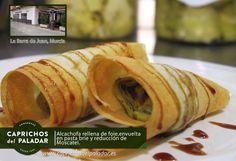 ¡ por fin es viernes  ! y para celebrarlo te compartimos hoy una recete realizadas con Alcachofas de Caprichos del Paladar,  la presencia es muy buena y en boca ¡ puro espectáculo !. Se trata de las famosas Alcachofas rellenas de foie, envuelta en pasta brie y reducción de moscatel  ummm ¿Apetece ? puedes degustarlas en La Barra del Juan, Travesía Turquesa, 5, Murcia Tel  868 07 67 48