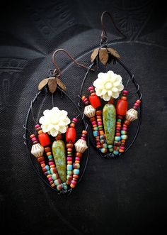 Flowers, Wire Wrapped, Hoops, Blossom Series, Bohemian, Gypsy, Artisan Made, Glass, Organic, Rustic, Unique, Beaded Earrings by YuccaBloom on Etsy
