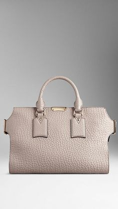 Burberry ~ Pale Grey Medium Signature Grain Leather Tote Bag - Refined signature grain leather tote bag.2015 Discover the women's bags collection at Burberry.com
