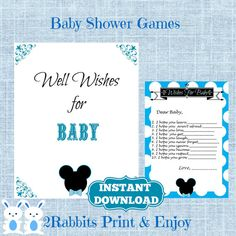 Mickey Mouse Wishes for Baby Cards and Sign- Disney Wishes for Baby -Baby Shower Game Baby Wishes-Instant Download - Disney Boy Baby Shower #babyshowergames #partydigitalfiles #etsypartyshop