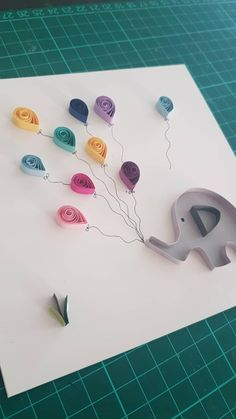 Quilling - elephant with balloons 🎈 🐘 Quilling Birthday Cards, Paper Quilling Cards, Quilling Work, Paper Quilling Jewelry, Neli Quilling, Paper Quilling Designs, Quilling Craft, Quilling Patterns, Paper Quilling For Beginners