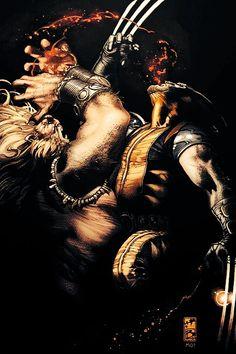 Sabretooth vs Wolverine by Simone Bianchi