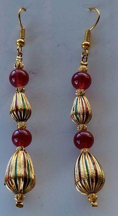 Dangle metal  glass bead earrings by SunMoonJewels on Etsy, $8.95