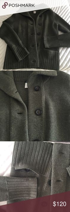 "Classic Jcrew 100% merino Cardigan size M Quality, heavy weight Cardigan. The color is a green heather. Button up closure with 2 front pockets with buttons. Long rib collar, cuffs and gem. Approx 23"" in length, 18"" across chest. They don't make product with this quality anymore! J. Crew Sweaters Cardigans"