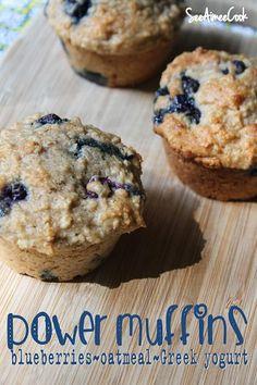 swap applesauce for butter :) See Aimee Cook: Power Muffins (blueberries, oatmeal, Greek yogurt)