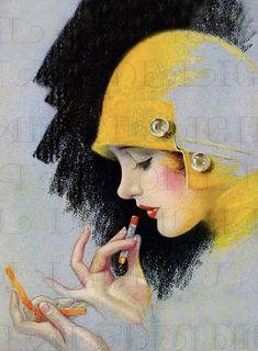 Etsy Vintage, Vintage Shops, Vintage Art, Ribbon Cards, Cloche Hat, An Elf, Altered Art, Lady In Red, Paper Art