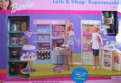 Barbie Talk & Shop Supermarket Playset with Talking Shopping Cart by Mattel, 2000 Barbie Sets, Barbie House, Barbie World, Mattel Barbie, Vintage Barbie, Vintage Toys, Barbie Values, Barbie Store, Barbie Playsets