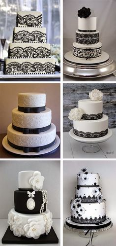 New Cake Desing Tutorial Ideas Ideas Pretty Wedding Cakes, Wedding Cake Rustic, Amazing Wedding Cakes, Wedding Cake Designs, Pretty Cakes, Beautiful Cakes, Amazing Cakes, Black White Cakes, Black And White Wedding Cake