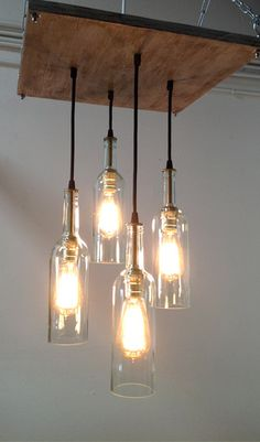 Recycled Wine Bottle Chandelier: Industrial Chandelier, Cottage Chic Lighting…