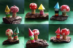 cork gnomes and cork toadstools