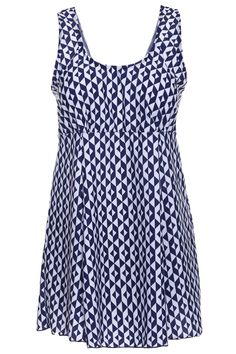 $14.50 Sexy Scoop Neck Geometric Print Plus Size Two-Piece Swimsuit For Women
