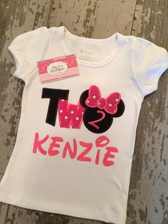 A personal favorite from my Etsy shop https://www.etsy.com/listing/234385815/minnie-mouse-two-appliqued-shirt