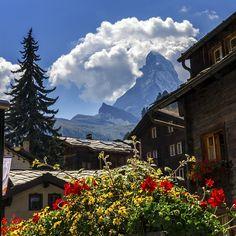 Matterhorn and Zermatt village houses, Switzerland by Elenarts - Elena Duvernay photo Places In Switzerland, Zermatt, Village Houses, Camping, Famous Places, Art For Sale, Travel Photos, Fine Art America, Mount Everest