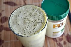 PB2 Smoothie... Everyone should own a can of PB2!!! (peanutbutter powder with 85% less fat then PB and still all the amazing protein) Amazing little treat when mixed with almond milk. :)