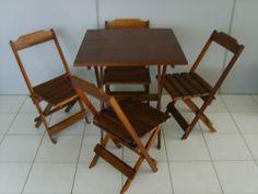 Conjunto Mesa 70 Tampo Inteiriço Dobravel 4 Cadeiras Madeira