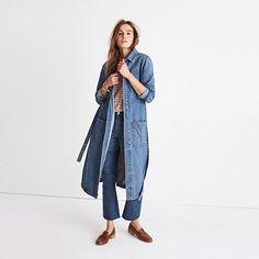 Denim Duster Coat : more denim dressing Early Fall Fashion, Fall Fashion Trends, Autumn Fashion, Denim Duster, Denim Coat, Duster Coat, Madewell Denim, Jackets For Women, Women's Jackets