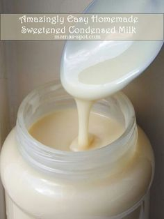 Amazingly Easy Homemade Sweetened Condensed Milk Recipe ~ What you will need: :: 1 cup hot water :: 1 cups sugar :: 1 cups powdered milk Homemade Sweetened Condensed Milk, Condensed Milk Recipes, Just Desserts, Dessert Recipes, Do It Yourself Food, Salsa Dulce, Baking Tips, Diy Food, Chutney