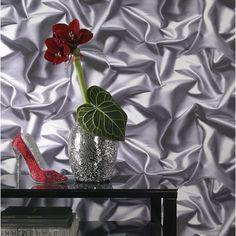 Papier peint vinyle sur intissé Froissé, gris, larg. 0.53 m