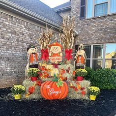 Welcome to our patch! Outside Fall Decorations, Fall Yard Decor, Harvest Decorations, Halloween Decorations, Fall Porches, Fall Fest, Painted Wine Bottles, Fall Projects, Fall Baking