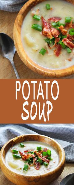 Potato Soup with Smokey Bacon - My all time favorite soup.  Hot, soul warming soup with smokey bacon.  Make this NOW!  It's  the simplest soup you will ever make. | FusionCraftiness.com