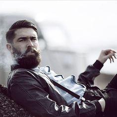 Chris John Millington - full thick dark beard and mustache beards bearded man men mens' style dapper vintage retro styles model smoking barber grooming hair cut hairstyles bearded #beardsforever