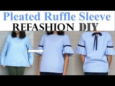 DIY | PLAIN TOP TO PLEATED RUFFLE SLEEVES(with a bow detail in the back) REFASHION - YouTube