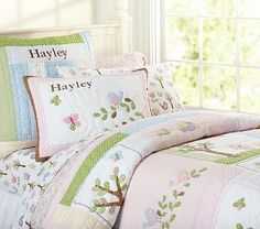 Hayley Quilted Bedding #pbkids. Beautiful for little girls room.