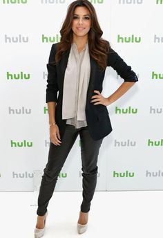 "Who knew Eva Longoria was only 5'2""? She looks amazing in those faux leather pants! You can find a similar pair at http://plumsociety.com/collections/bottoms/products/luxe-faux-leather-pants?variant=11334034308"