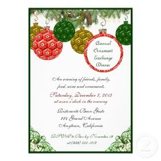 Ornament Exchange Dinner Party Invitations (Custom).  Way early I know, but why not? #ornamentexchange #christmas #holidayinvitations