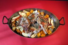 Pork chops with roasted apples and squash: Pair pork chops with roasted apples and caramelized squash, along with herbs and a splash of apple cider vinegar.  Serve with egg noodles or red potatoes.