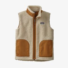 Kids' Retro-X® Vest - Natural w/Umber Brown (NAUB) (65619) Patagonia Retro X, Patagonia Vest, Patagonia Kids, Fleece Vest, Kids Bags, Lining Fabric, Comfortable Outfits, Hand Warmers, Vest Jacket