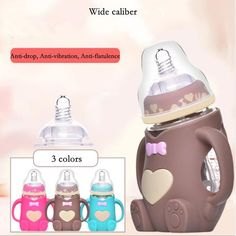 Infant Baby Cute Feeding Glass Bottle Safe Silicone Milk Bottle With Handle Soft Mouth Newborn Drink Training Feeding Bottle Baby Feeding Chart, Baby Feeding Schedule, Best Baby Bottles, Bebe Baby, Bottle Feeding, Glass Bottles, New Baby Products, Infant, Travel Kids