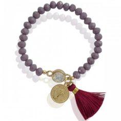 Bracelet bead coin tassel purple.