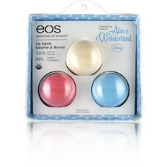eos Alice in Wonderland Lip Balm, 3 count. this has two new flavors.a vanilla and blueberry lip balm! must have these.