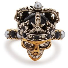 Alexander McQueen Swarovski Crystal-embellished Queen Skull Ring ($355) ❤ liked on Polyvore featuring jewelry, rings, gold tone rings, skull head ring, faux pearl jewelry, swarovski crystals jewelry and swarovski crystal jewelry