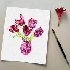 Still Life Burgundy Tulips in a Vase Watercolor от DariyPrintJulia