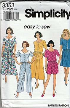 Simplicity Sewing Pattern 8353 ©1993 Misses 2 PC Dress w/ Skirt and Split Skirt, Size 18-24 Simplicity http://www.amazon.com/dp/B018EUWUBY/ref=cm_sw_r_pi_dp_rX1uwb1231NTP