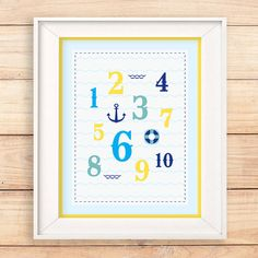 Nautical themed number wall art. Both educational and stylish #teampinterest