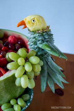 Tropical Parrot Fruit Salad | OneCraftyThing.org