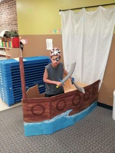 Pirate Ship from Cardboard box and shower curtain photo prop Pirate Day, Pirate Birthday, Pirate Theme, Cardboard Pirate Ship, Diy Image, Bateau Pirate, Pirate Crafts, Build Your Own Boat, Vacation Bible School