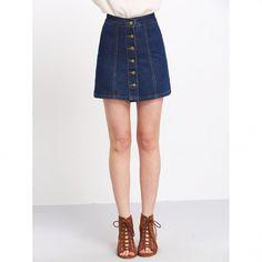A Line Denim Skirt Women Blue High Waist Button Up Slim Mini Skirts Fashion Casual Ladies Cute School Skirt A Line Denim Skirt, Button Front Denim Skirt, A Line Skirts, Jean Skirt, Skirt Outfits, Dress Skirt, Cute Outfits, Denim Skirts Online, Petticoats