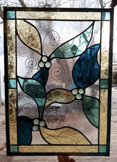 Green and Yellow Leaves with Berries and Silver Vines Handmade Stained Glass Panel by SummitSkyDesigns on Etsy https://www.etsy.com/listing/223953842/green-and-yellow-leaves-with-berries-and