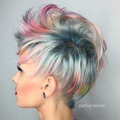 Multi-Colored+Pastel+Pixie I LOVE the dark, grey and multicoloured highlighted bits. Short Hair Undercut, Undercut Hairstyles, Funky Hairstyles, Hairstyles 2018, Latest Hairstyles, Natural Hairstyles, Short Hair With Layers, Short Hair Cuts For Women, Short Hair Styles